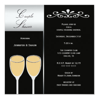 elegant couples wedding shower invitations