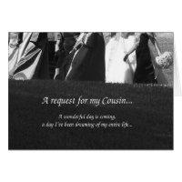 Elegant Cousin Bridesmaid Request Card