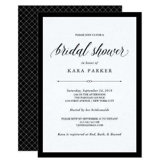 Elegant couture black and white bridal shower invitation zazzle elegant couture black and white bridal shower invitation filmwisefo