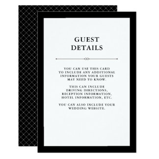 Elegant Couture | Black and White Guest Details Card
