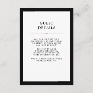 Elegant Couture | Black and White Guest Details Enclosure Card