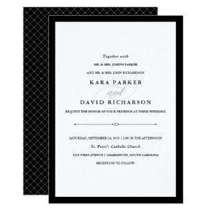 Black and white wedding invitations zazzle elegant couture black and white wedding card filmwisefo Choice Image
