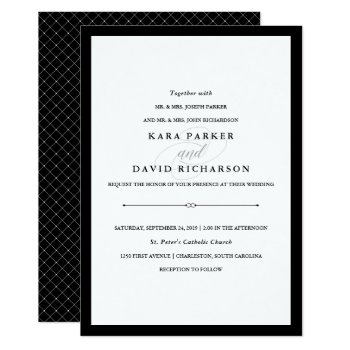 Elegant Couture | Black And White Wedding Card by Customize_My_Wedding at Zazzle