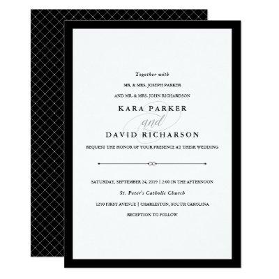 Chic Black White Striped Gold Bridal Shower Invite – Black and White Wedding Invites