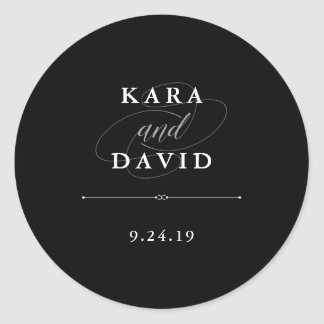 Elegant Couture | Black and White Wedding Classic Round Sticker
