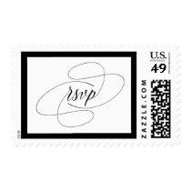 Elegant Couture | Black and White Wedding RSVP Postage