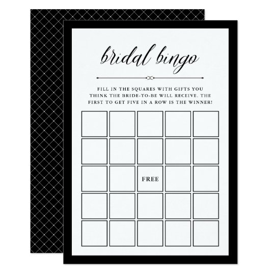 elegant couture bridal shower bingo game invitation