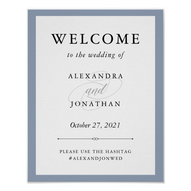 Elegant Couture | Dusty Blue Wedding Welcome Poster
