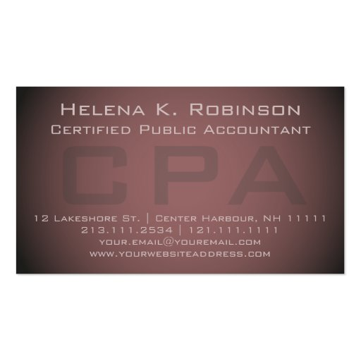 elegant cpa certified public accountant business card
