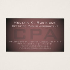 Elegant Cpa Certified Public Accountant Business Card at Zazzle