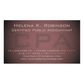 Elegant CPA Certified Public Accountant Double-Sided Standard Business Cards (Pack Of 100)