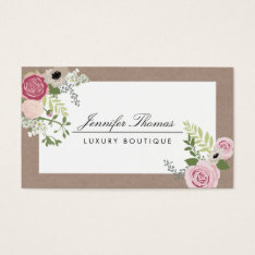 Elegant Craft Floral Motif Luxury Boutique Business Card at Zazzle