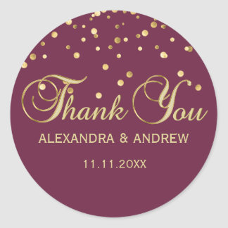 Elegant CRANBERRY Gold Wedding Thank You Classic Round Sticker