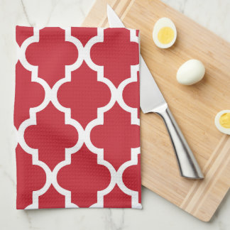 Elegant Cranberry Red Quatrefoil Tiles Pattern Kitchen Towel