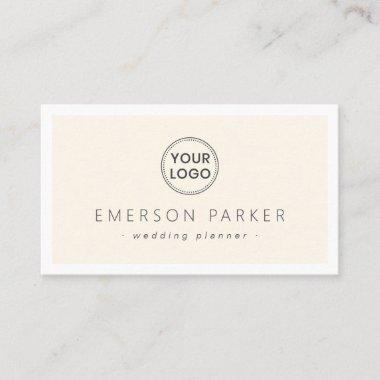 Elegant cream and white modern minimalist add logo business card
