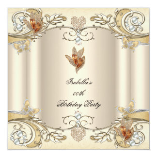 Elegant Cream Beige Gold Butterfly Birthday Party Card