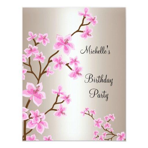 Elegant Cream Beige Pink Floral Birthday Card