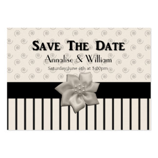 Elegant Cream & Black Wedding Save The Date Cards Large Business Cards (Pack Of 100)