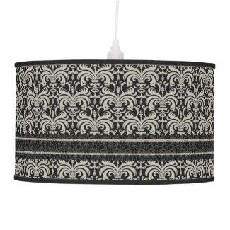 Elegant Cream Damask Pattern On Black