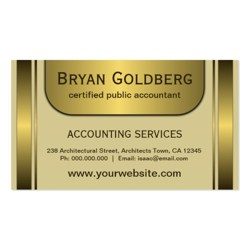 Elegant Cream Gold CPA Accountant Business Cards Business