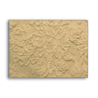 Elegant Cream Gold Lace Wedding Envelope