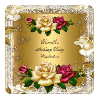 Elegant Cream Gold Pink Red Roses Birthday Party Card