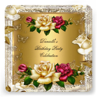 Elegant Cream Gold Pink Red Roses Birthday Party Personalized Invitation