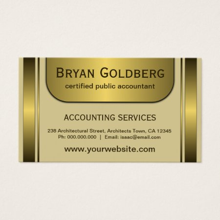 Elegant Cream and Gold Plate CPA Certified Public Accountant Business Cards