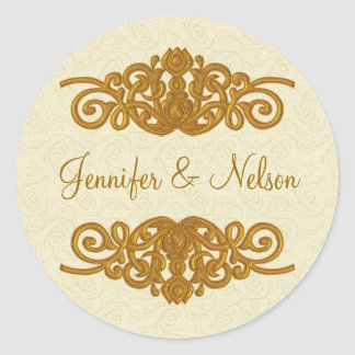 Elegant Cream & Gold Tone Wedding Envelope Seal