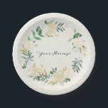 "Elegant Cream Rose Floral Wreath Paper Plate<br><div class=""desc"">Elegant Cream Rose Floral Wreath can be personalized with a name,  message,  date,  or anything else you desire.</div>"