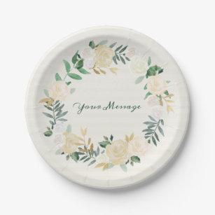 Elegant Cream Rose Floral Wreath Paper Plate  sc 1 st  Zazzle & Engagement Plates | Zazzle