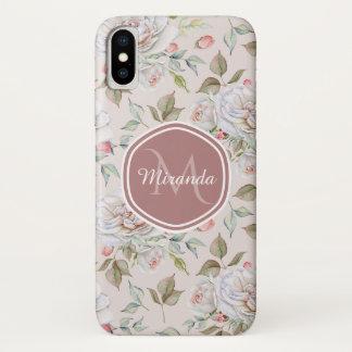 Elegant Cream Roses Floral Monogram and Name iPhone X Case