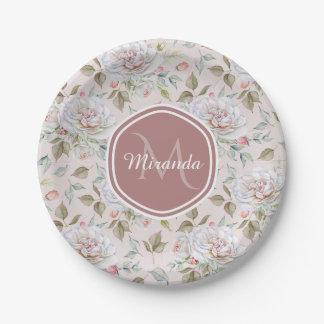 Elegant Cream Roses Floral Monogram and Name Paper Plate