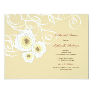 Elegant Cream Roses & Swirls Bridal Shower Invite
