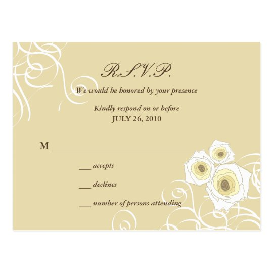 Elegant Cream Roses & Swirls Wedding RSVP Postcard