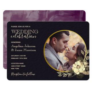 Elegant Creative Black & Gold Floral Wedding Photo Invitation