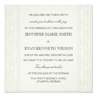 Elegant Creme Damask Wedding Invitation