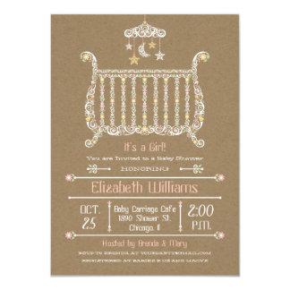 Elegant Crib — Baby Girl Shower Invitation