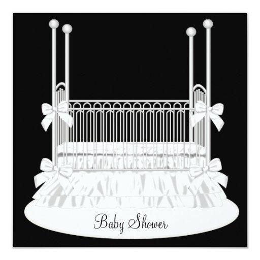 Elegant Crib Black White Baby Shower Card