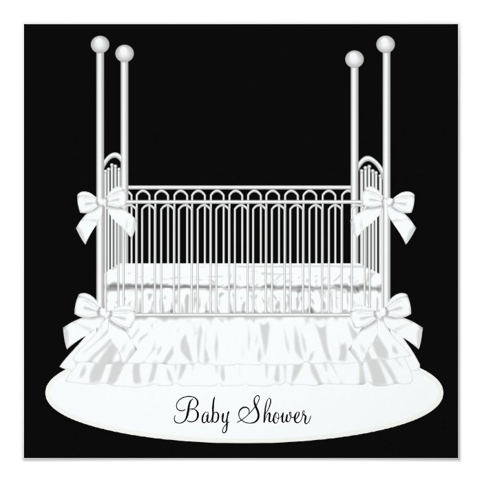 Elegant Crib Black White Baby Shower Card