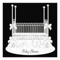 Elegant Crib Black White Baby Shower Personalized Invite