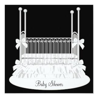 Elegant Crib Black White Baby Shower Invitation