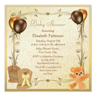 Elegant Crib & Teddy Vintage Baby Shower Invites