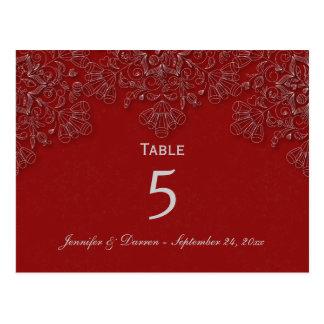 Elegant crimson floral swirl wedding table card postcard
