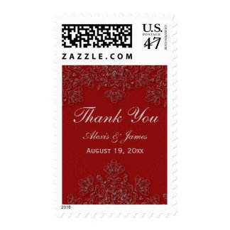 Elegant crimson floral swirls wedding thank you postage