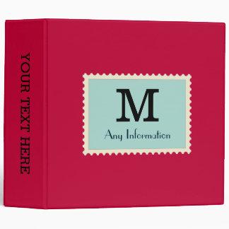 Elegant Crimson glory Color Monogram 3 Ring Binder