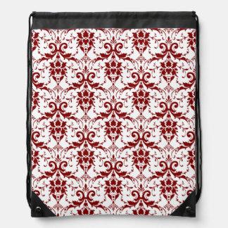 Elegant Crimson Red Damask Pattern on White Drawstring Backpack
