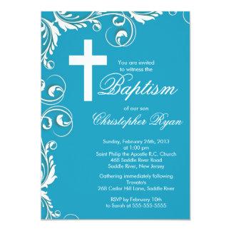 Elegant Cross Baby Boy Baptism Christening Cards