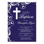 "Elegant Cross Baby Boy Baptism Christening 5"" X 7"" Invitation Card"