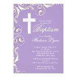 Elegant Cross Baby Girl Baptism Christening Custom Invites